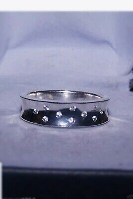 $ CDN54.41 • Buy QVC Scattered Cz Sterling Silver 925 Wide Band Ring Thailand IBB