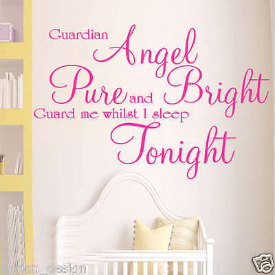 £11.99 • Buy Guardian Angel Children Wall Art Sticker Quote LARGE