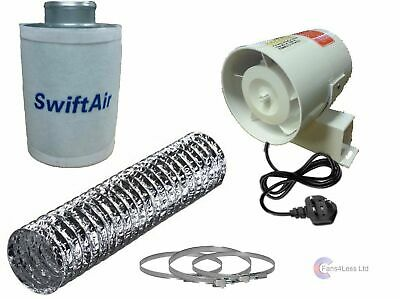 4  In Line Fan Carbon Filter & Duct Kit Hydroponic Grow Room Tent Ventilation • 56.99£