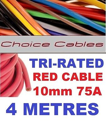 AU14.79 • Buy TRI RATED CABLE 10mm 75 AMP 4 METRES RED CAR BOAT LOOM WIRE BS6231 PANEL WIRE 4m