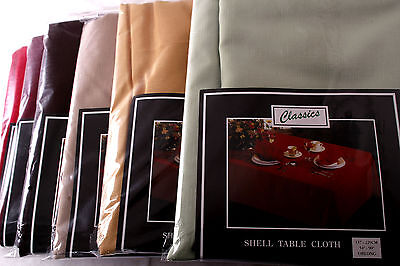 £30 • Buy 70 X 140 INCH OBLONG SHELL TABLECLOTH 14 COLOURS NON-IRON, STAIN PROOF, WASHABLE
