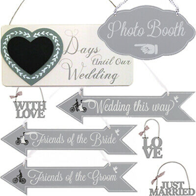 £4.50 • Buy WEDDING ARROW HANGING PLAQUE SIGN GIFT TAG Party Venue Decor Direction Hanger