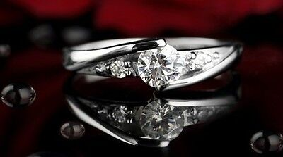 Women's Ladies 925 Silver Plated Crystal Rings Wedding Engagement Ring   • 3.99£