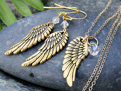 Gold Angel Wing Necklace & Earring Set -birthstone Crystals, 14k Gold Fill Chain • 44.86£