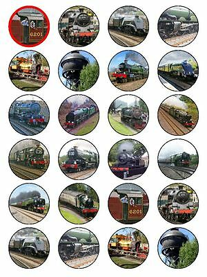 X24 Steam Engine Locomotive Train & Railway Cup Cake Toppers On Rice Paper • 1.99£