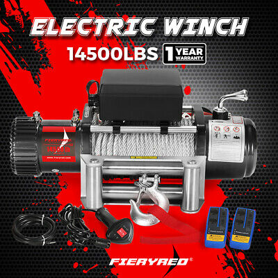 AU399.95 • Buy FIERYRED Electric Winch 14500LBS 12V Steel Cable Wireless Remote 4WD 4x4 Truck