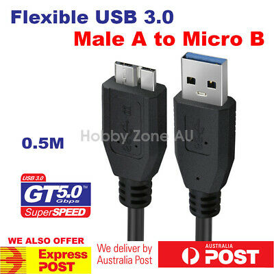 AU5.35 • Buy USB 3.0 Extension Data Cable 50cm A Male To Micro B For Seagate WD Portable HDD