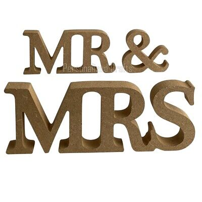 Mr & Mrs White/Wooden 8cm Letters, Wedding Gift Favours Table Decoration Sign • 4.49£