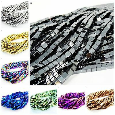 $ CDN2.79 • Buy Natural Hematite Gemstone Square Cube Silver Gold Multi-color Beads 16'' Healing