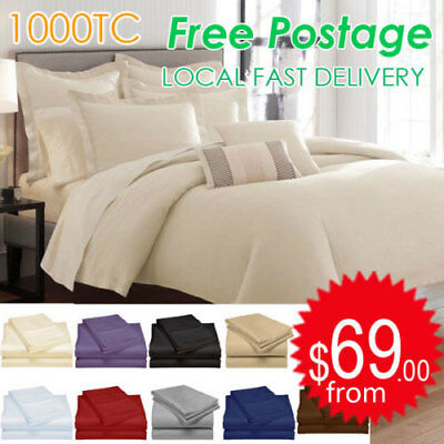 AU28 • Buy All Size 1000TC Egyptian Cotton Sheet Set Flat Fitted Pillowcases Or Quilt Cover