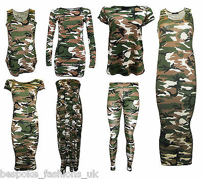 New Women's Camouflage Army Print Leggings,Vest Top & Cap Sleeve Midi Size SM ML • 4.99£