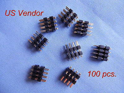 $8.99 • Buy Gold Plated 8 Pin Headers - (2x4) Double Row 2.54mm Straight Male Pin - 100 Pcs.