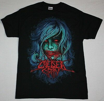 Chelsea Grin Girl Face Deathcore Metalcore Suicide Silence New Black T-shirt • 8.99£