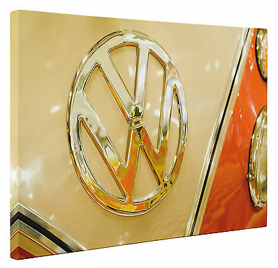 £14.25 • Buy VW Camper Bus Van Badge Canvas Print Classic Retro Wall Art Picture A1 A2