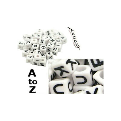 100 X 6mm White Cube Acrylic Letter Single Beads 4mm Hole Alphabet Loose A - Z • 1.99£