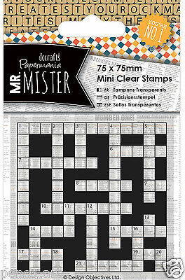 Docrafts Papermania Clear Mini Rubber Stamp Mr Mister Crossword 75x75mm Man Men • 1.49£