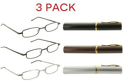 b140ac51b49 Fiore 3 Pack Metal Reading Glasses Readers With Tube Case For Men And Women  • 15.95