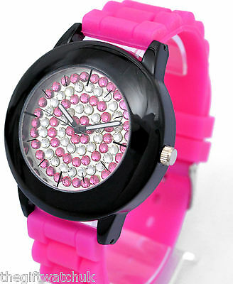 £8.95 • Buy Henley Ladies Crazy BIG Face Quirky Diamante Watch, Silicone Strap, Colours NEW
