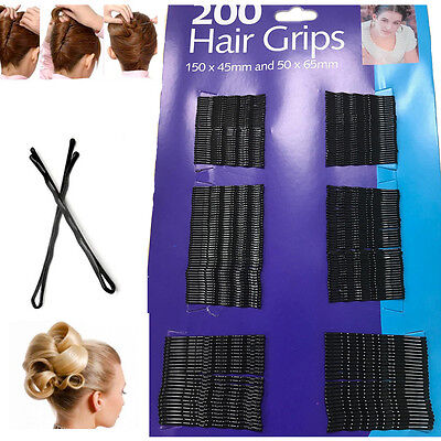 200 Hair Bobby Pins Kirby Grips Black Clips Salon Styling Slides Waved Clamp • 2.29£