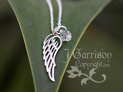 Angel Wing Necklace- Sterling Silver Charm & Birthstone Color Crystal Teardrop  • 39.07£
