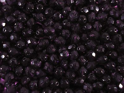 AU5.90 • Buy Czech Fire Polished 8mm Faceted Glass Beads 50pc Grape Jewellery FREE POSTAGE