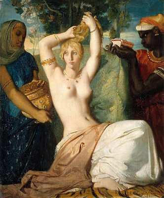 $ CDN132.37 • Buy Oil Painting The Toilet Of Esther - Naked Young Girl With Her Servants Canvas