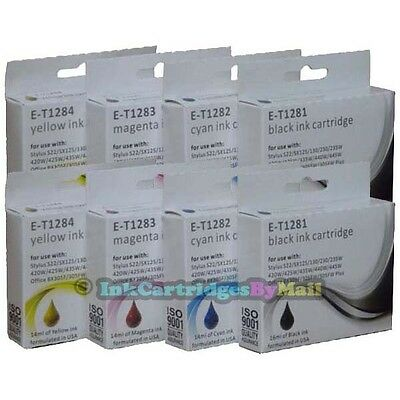8 HQ Ink Cartridges T1281 T1282 T1283 T1284 (T1285) For EPSON Printers Non-OEM • 11.69£