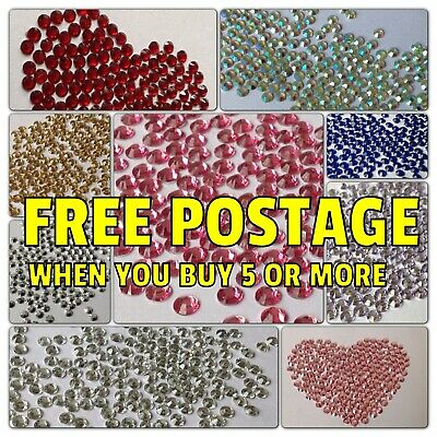 1000 Flat Back Rhinestones Gems Nail Art  3mm 4mm 5mm 6mm | 92000+ Bags Sold  • 1.29£