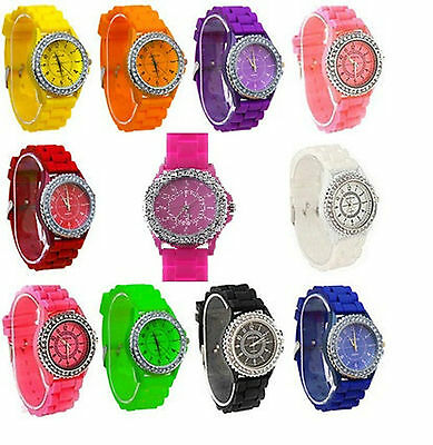 £3.99 • Buy  New Womens Ladies Crystal Rubber Jelly Silicone Bracelet Wrist Watch