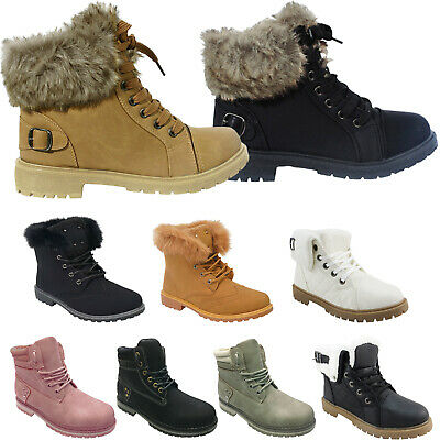£16.99 • Buy Ladies Womens Army Combat Flat Grip Sole Fur Lined Winter Ankle Boots Shoes Size
