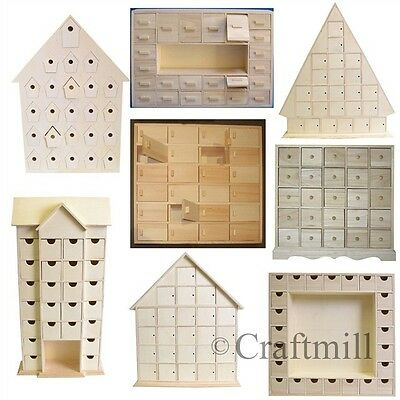 £36.25 • Buy Plain Wooden Advent Calendars - Unfinished And Ready To Decorate & Make Your Own