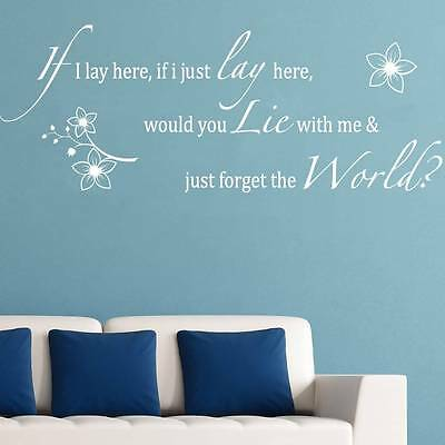 IF I LAY HERE SNOW PATROL Quote Decal WALL STICKER Art Home Decor Bedroom SQ1026 • 10.61£
