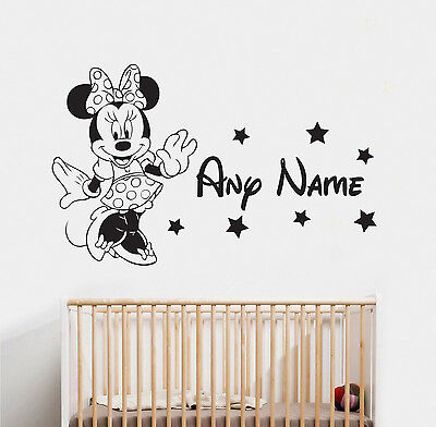 Minnie Mouse & Name Wall Sticker 1 Disney Childrens Bedroom Vinyl Decal  • 14.99£