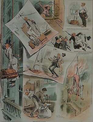 Judge Magazine. The Rope As A Hotel Fire-Escape. 1887. • 7.23£