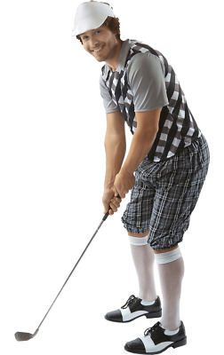 Mens Black & White Pub Golf Sport Stag Night Fun Fancy Dress Costume • 29.99£