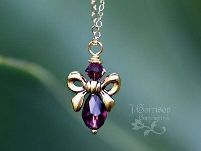 Birthstone Crystal Angel Necklace - Bow Wings, 14k Gold Filled Chain  • 27.50£