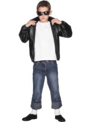 Boys T-bird Black Jacket Kids Grease Musical Fancy Dress Danny Costume With Logo • 18.99£