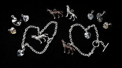 Bella's Charm Bracelet -Choose Wolf, Heart - Made With Swarovski - Twilight Gift • 4.89£