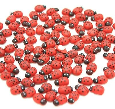 100 Mini Wooden Red Ladybirds,  Ladybugs Craft Card Wood Toppers Embellishments • 3.50£