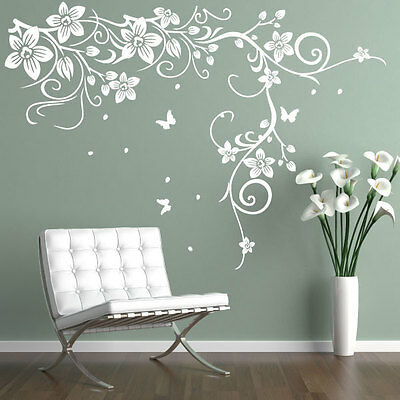 Butterfly Vine Flower Vinyl Wall Art Stickers, Wall Decals, Wall Graphics • 12.49£