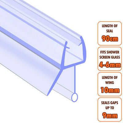 ECOSPA Bath Shower Screen Door Seal Strip • For 4-6mm Glass • Seals Gaps To 9mm • 4.99£