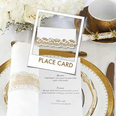 GOLD LACE PLACE CARD Anniversary Birthday Christmas Dinner Wedding Party Table • 6.90£