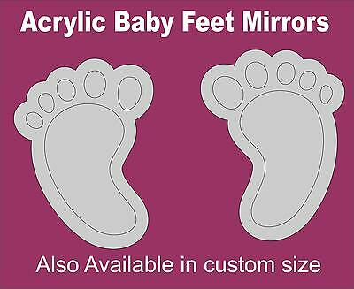 Modern Decorative A Pair Of Baby Feet Acrylic Mirror In Custom Size For Children • 7.99£
