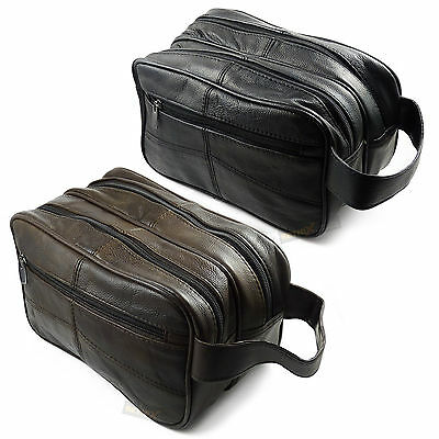 £14.99 • Buy Large REAL LEATHER WASH BAG Zipped Toiletries Toiletry Travel Gents Mens Womens