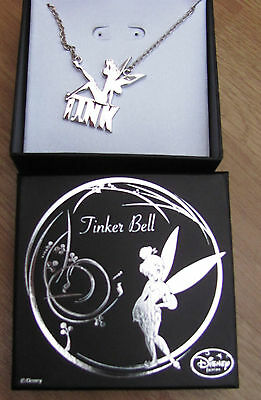 TINKERBELL Fairy Pendant Necklace Genuine Disney Silver Silhouette Tink  + Box • 13.99£