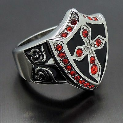 $11.97 • Buy MEN's Ruby Red Cubic Zirconia Cross Shield 316L Stainless Steel Ring