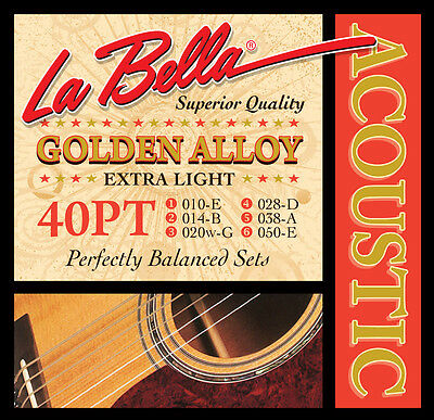 $ CDN10.99 • Buy La Bella 40PT GOLDEN ALLOY EXTRA LIGHT Guitar String Set