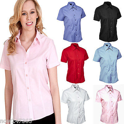 £9.95 • Buy Ladies Short Sleeve Shirt Smart Office Size UK 8 To 24 Easy Care Button Blouse