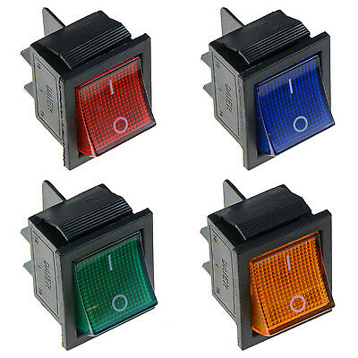 Illuminated Large On-Off Rocker Switch 12V DPST - Red Blue Green Yellow • 2.35£