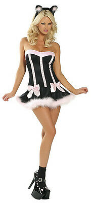 Halloween Pussy Cat Doll Fancy Mini Dress Costume Outfit +Ears Lingerie • 9.99£